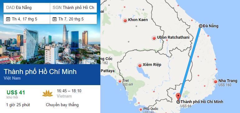 Tham khảo hành trình bay từ Đà nẵng đến TP HCM