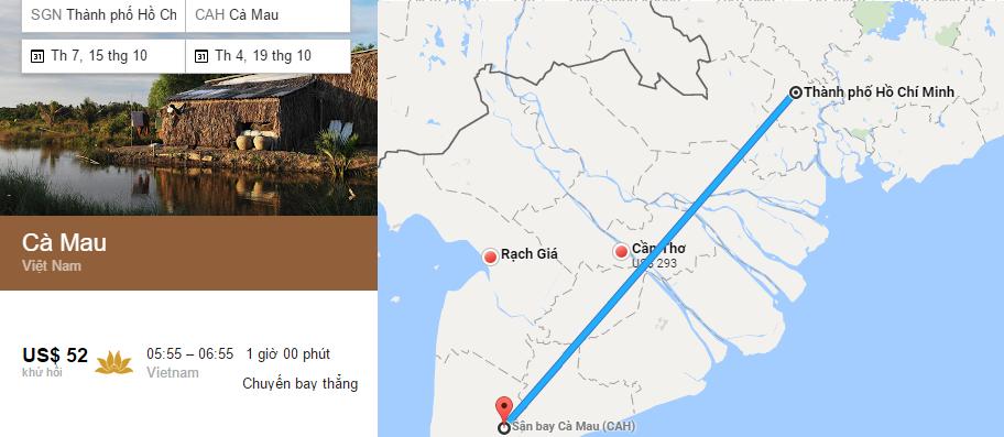 Tham khảo hành trình bay từ TPHCM đến Cà Mau