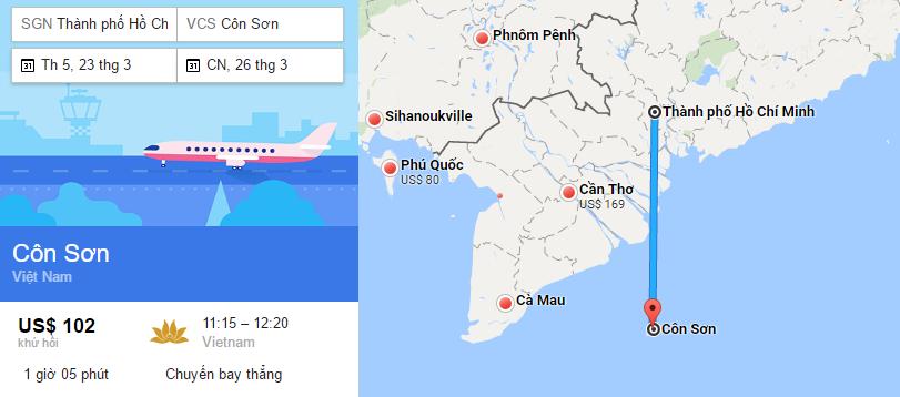Tham khảo hành trình bay từ TP HCM đi Côn Đảo