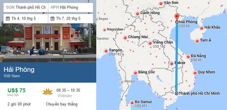 Tham khảo hành trình bay từ TP HCM đến Hải Phòng