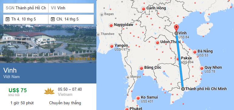Tham khảo hành trình bay từ TP HCM đến Vinh