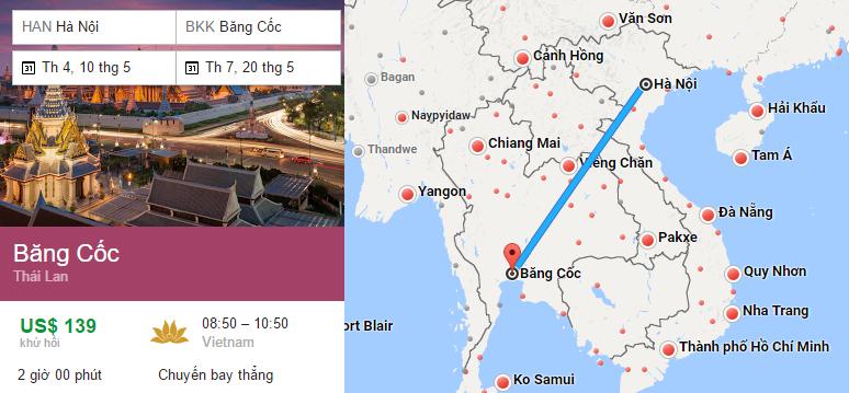 Tham khảo hành trình bay từ Hà Nội đến Bangkok