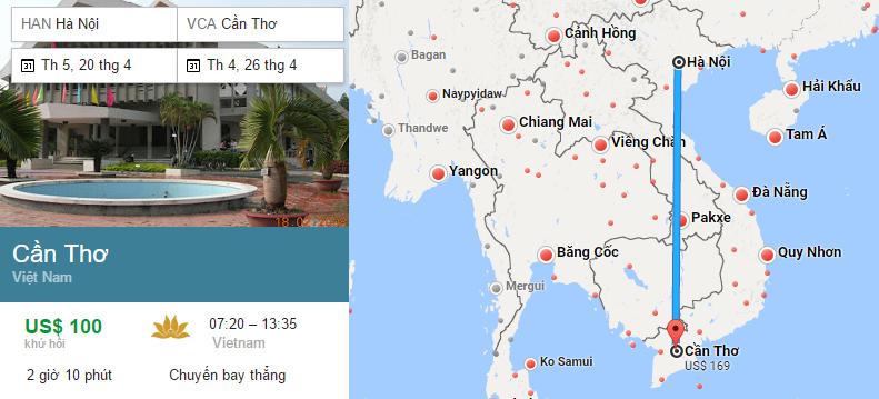 Tham khảo hành trình bay từ Hà Nội đi Cần Thơ