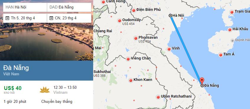 Tham khảo hành trình bay từ Hà Nội đến Đà nẵng
