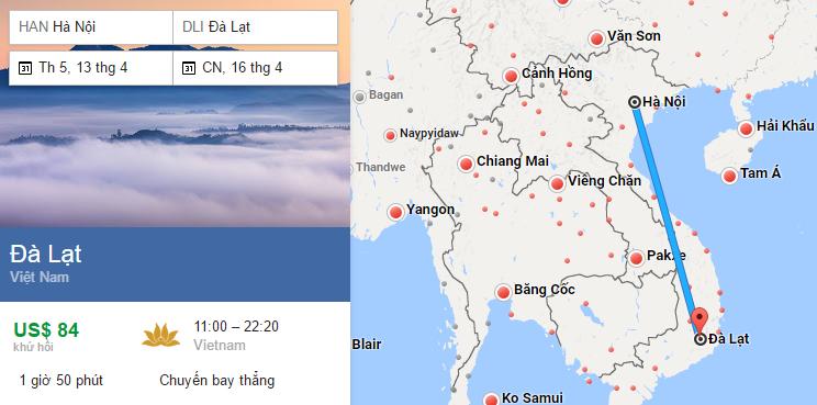 Tham khảo hành trình bay từ Hà Nội đi Đà Lạt