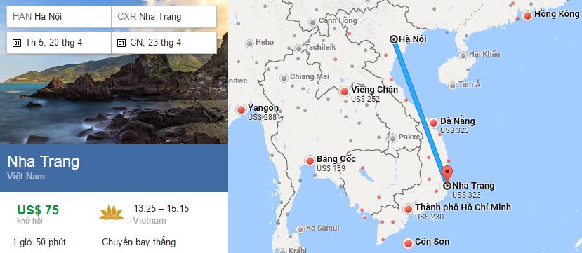 Tham khảo hành trình bay từ Hà Nội đến Nha Trang