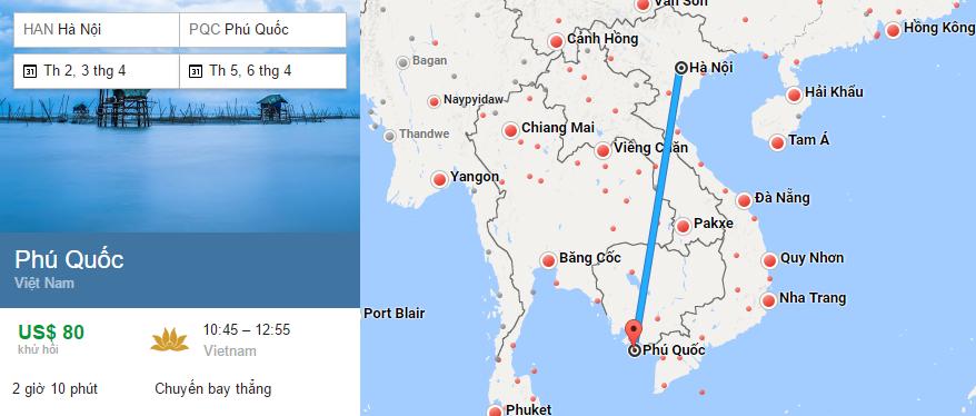 Tham khảo hành trình bay từ Hà Nội đến Phú Quốc