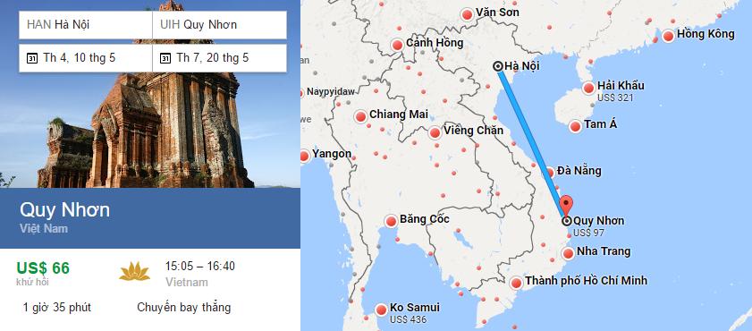 Tham khảo hành trình bay từ Hà Nội đến Quy Nhơn