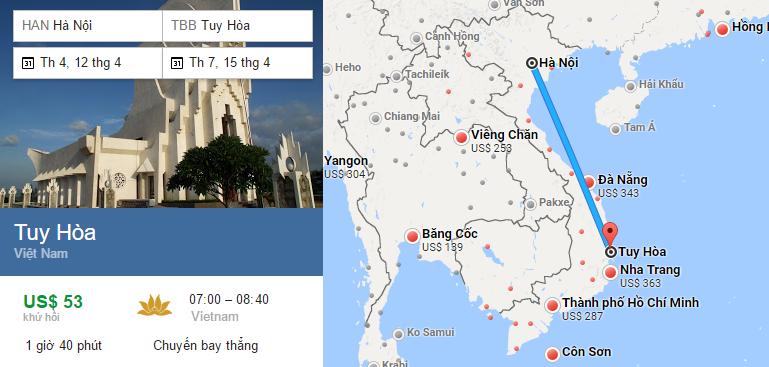 Tham khảo hành trình bay từ Hà Nội - Tuy Hòa