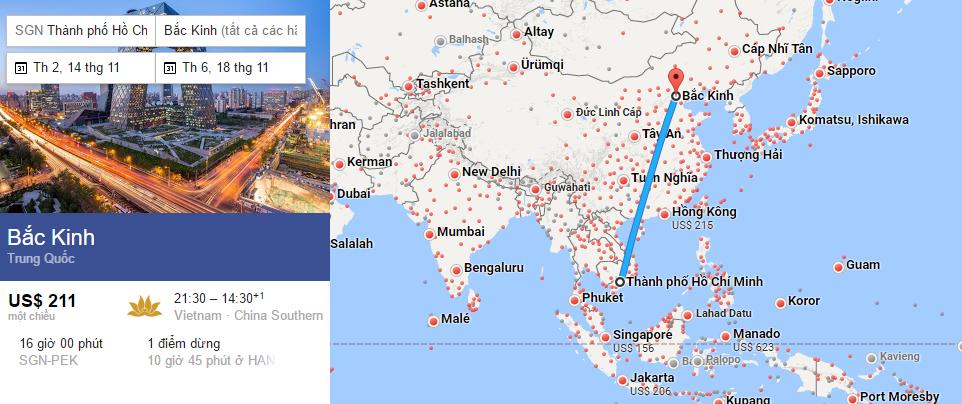 Bản đồ đường bay chặng HCM - Bắc Kinh