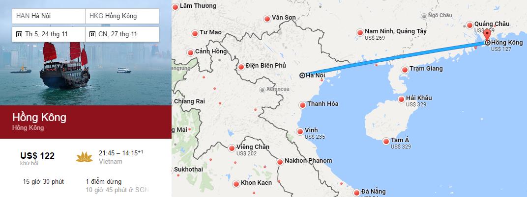 Bản đồ đường bay chặng Hà Nội - Hong Kong