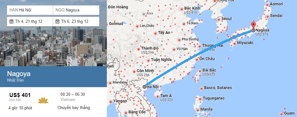 Bản đồ đường bay chặng Hà Nội - Nagoya