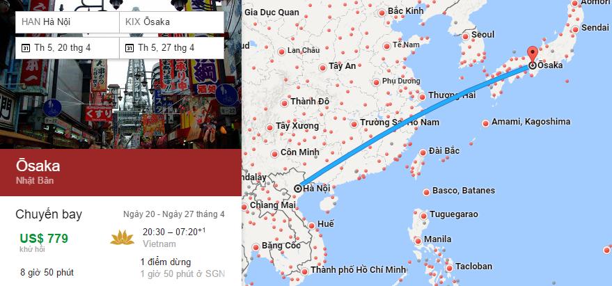 Bản đồ đường bay chặng Hà Nội - Osaka