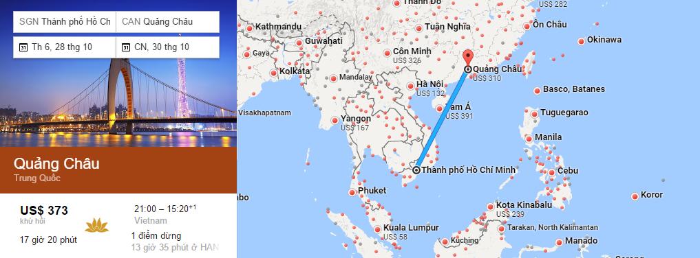 Bản đồ đường bay chặng HCM - Quảng Châu
