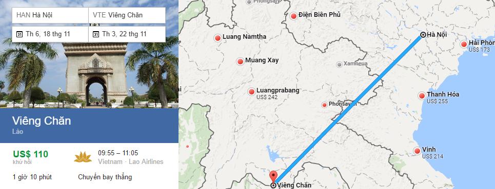Bản đồ đường bay chặng Hà Nội - Vientiane