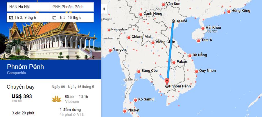 Bản đồ đường bay chặng Hà Nội - Phnom Penh