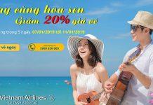Giảm 20% vé máy bay quốc tế cùng hoa sen