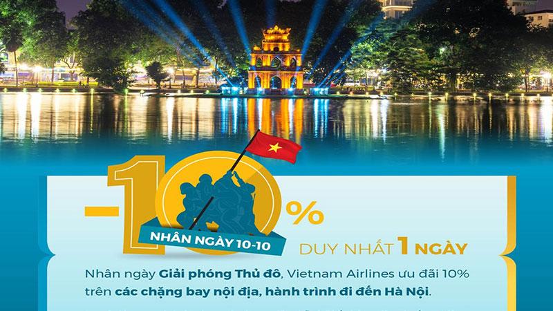 Khuyến mãi giảm 10% cùng Vietnam Airlines hướng về Thủ Đô