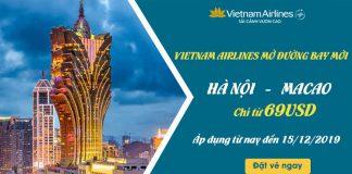 Vietnam Airlines khuyến mãi chỉ 69 USD Hà Nội – Macao