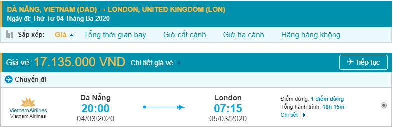 Giá vé máy bay sang Anh Quốc từ Đà Nẵng