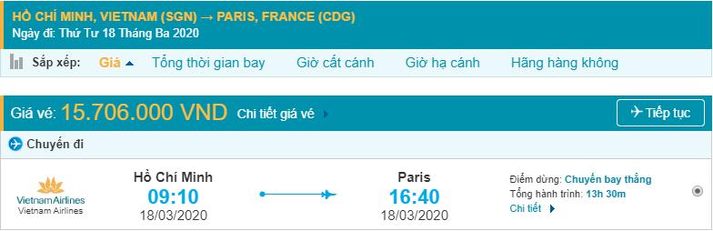 Vé máy bay đi Pháp từ Hồ Chí Minh Vietnam Airlines