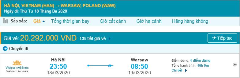 Vé máy bay đi Warsaw Ba Lan Vietnam Airlines
