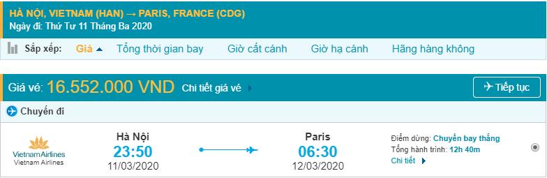 Đặt vé máy đi Pháp Vietnam Airlines từ Hà Nội