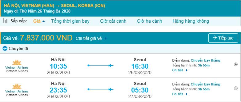 Giá vé máy bay từ Hà Nội đi Hàn Quốc Incheon