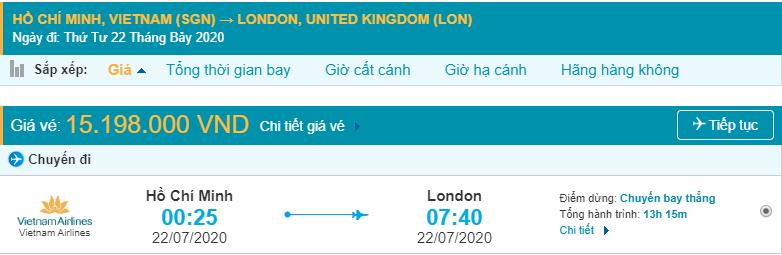 Giá vé máy bay đi Anh Quốc từ Hồ Chí Minh