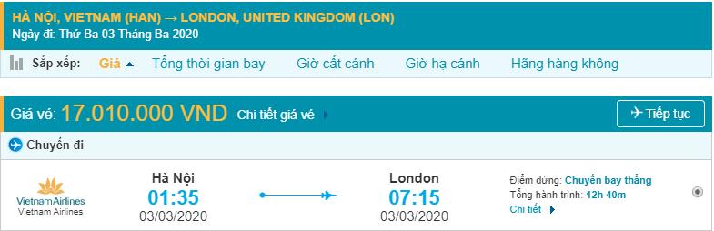 Vé máy bay Hà Nội đi Anh Vietnam Airlines