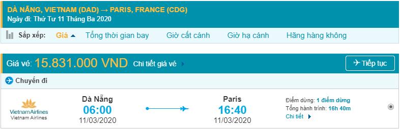Vé máy bay Đà Nẵng đi Pháp Vietnam Airlines