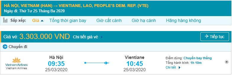 Vé máy bay đi Viêng Chăn Vietnam Airlines
