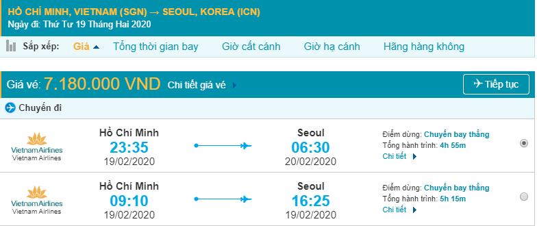 Vé máy bay từ Sài Gòn đi Incheon