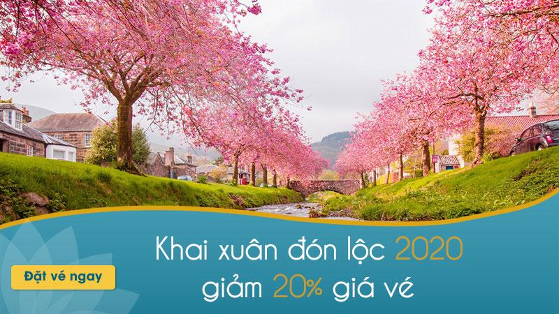 Khai xuân 2020 Vietnam Airlines khuyến mãi 20% giá vé