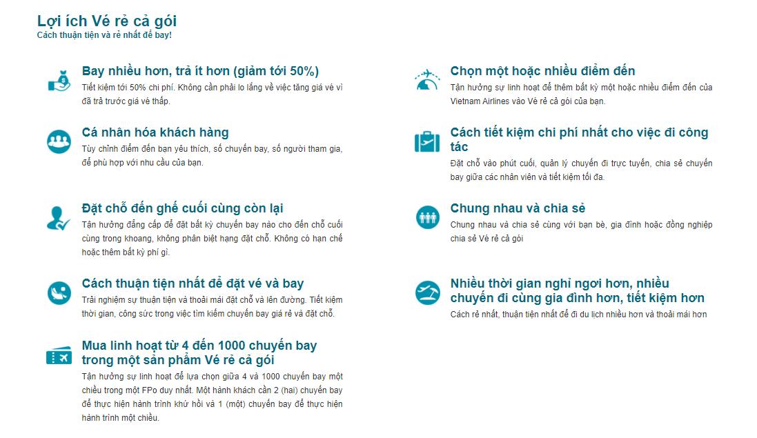Lợi ích của dịch vụ Vé rẻ cả gói của Vietnam Airlines