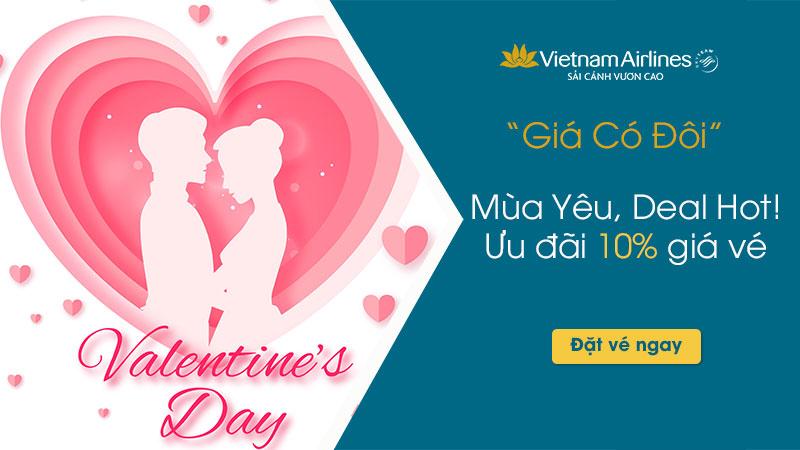Vietnam Airlines khuyến mại Valentine: Giá có đôi – giảm 10% cho 2 người